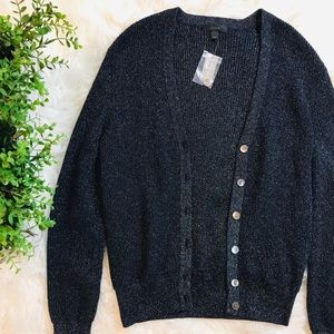NEW J Crew Sparkly Blue Button Down Cardigan Med